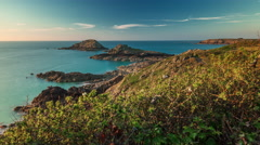 Sunset hills bay sea panorama 4k time lapse france Stock Footage