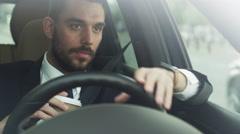 Sleepy, Drowsy Businessman Driving a Car Stock Footage