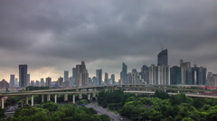 Sunset storm sky shanghai city road junction panorama 4k time lapse china Stock Footage