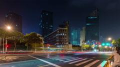 Shanghai night traffic road street crossroad panorama 4k time lapse china Stock Footage