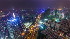 Night shanghai road junction cityscape aerial panorama 4k time lapse china Arkistovideo