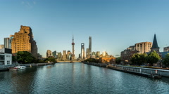 Timelapse of landmark in the Bund of Shanghai, China Stock Footage
