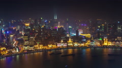 Night light shanghai old city bay roof top aerial panorama 4k time lapse china Stock Footage