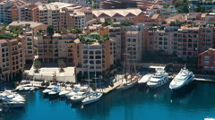 Aerial View Skyline Monaco Luxury Yachts Stock Footage