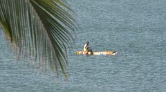African fisherman fishing in the open sea - Senegal Stock Footage