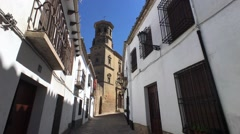 Medieval typical street near to the cathedral of Baeza Stock Footage