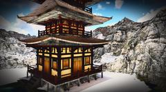 Buddhist Temple in rocky mountains 3d rendering Stock Illustration
