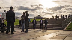 MOSCOW, RUSSIA - SEPTEMBER, 10. People walking in Victory park. 4K timelapse Stock Footage