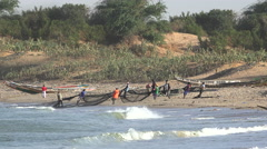 Group of African fishermen pulled in the nets - Africa, Senegal Stock Footage