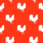 Vector Illustration of Red Fire Rooster, Symbol  2017 Year on Stock Illustration