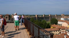 Cittadella - The panoramic terrace along the ancient walls Stock Footage