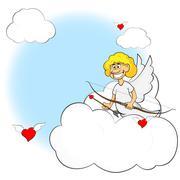 Cartoon cute cupid illustration Stock Illustration