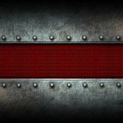 Grunge metal background and red mesh Stock Illustration