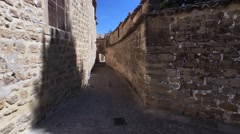 Medieval neighborhood in Baeza, alleyway with stone arch, Jaen province, Andalus Stock Footage