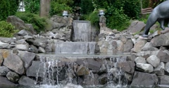 Man Made Waterfall in a City Park Stock Footage