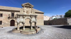 Fountain and St. Philip Neri Seminary in the Plaza Santa Maria, Baeza, Jaen Prov Stock Footage