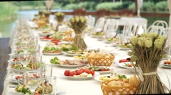 Laid holiday table with snacks Stock Footage