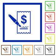 Cheque signing framed flat icons Stock Illustration