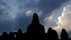 TIMELAPSE Clouds and Angkor Thom in silhouette,Siem Reap,Cambodia Stock Footage