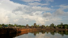TIMELAPSE Crowds of tourists going to Angkor Wat,Siem Reap,Cambodia Stock Footage
