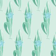 Floral green seamless pattern in modernist style Stock Illustration