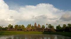 TIMELAPSE Angkor Wat reflected in pool,Siem Reap,Cambodia Stock Footage
