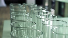 Several empty glasses on the table in restaurant Stock Footage