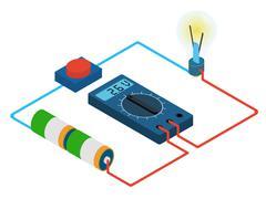 Infographic of measurement multimeters voltage circuit Stock Illustration