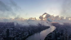 Bird view of the busy city in the sky over Pudong CBD,Shanghai, China Stock Footage
