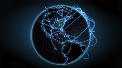 Growing global network across the world. Internet and business concept. Blue. 4K Stock Footage