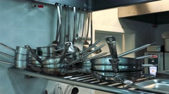 Professional kitchen in the restaurant - detail of cookware Stock Footage