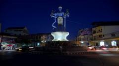TIMELAPSE Vishnu roundabout  with traffic in evening,Battambang,Cambodia Stock Footage