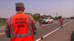 The Colorado national Guard monitors vehicle traffic on roads during the West Stock Footage