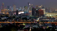 TIMELAPSE Skyline of new city with evening traffic,Bangkok,Thailand Stock Footage