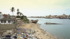 Dirty and poor african cityscape in the Senegal river - Saint Louis, Africa Stock Footage