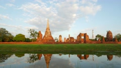 TIMELAPSE Mahathat ancient temple with reflection,Ayutthaya,Thailand Stock Footage