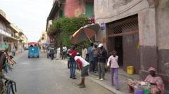 African city street scene - Saint Louis, Senegal Stock Footage