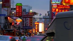 TIMELAPSE Chinatown with evening traffic pan down,Bangkok,Thailand Stock Footage