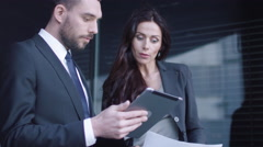 Business Man and Woman Having Meeting and Conversation Outdoor. Stock Footage