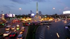 TIMELAPSE Victory monument roundabout traffic,Bangkok,Thailand Stock Footage