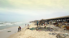Dirty and poor african beach - Saint Louis, Africa Arkistovideo