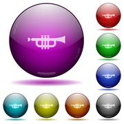 Trumpet glass sphere buttons Stock Illustration