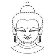 Buddha head illustration with brush technique Stock Illustration