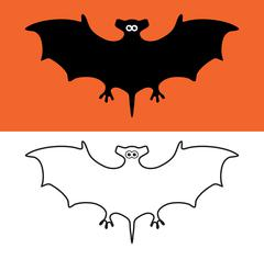 Vector set of bat symbols, scary vampires of wildlife concept Stock Illustration
