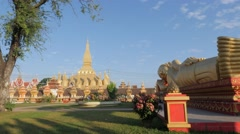 That Luang temple with recling buddha,Vientiane,Laos Stock Footage