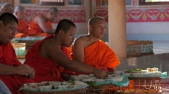 Monks eating food in temple,Vientiane,Laos Stock Footage
