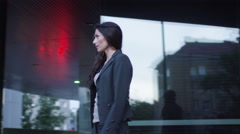 Business Man and Woman Have a Greeting Handshake Stock Footage