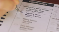 Close up of ballot voting for Donald Trump and Michael Pence Stock Footage