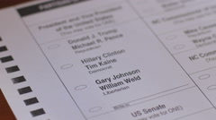 Close up a voter voting for Gary Johnson and William Weld Stock Footage