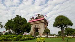 TIMELAPSE Patuxai monument and park,Vientiane,Laos Stock Footage
